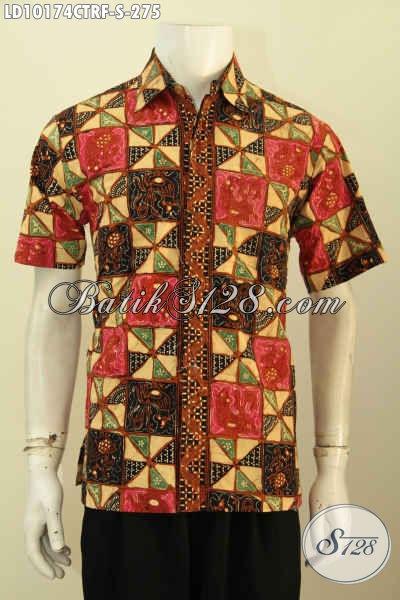 Model Baju Batik Keren Motif Kekinian, Hem Batik Full Furing Lengan Pendek Proses Cap Tulis Yang Membuat Penampilan Terlihat Gaula, Size S