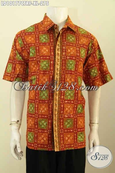 Model Baju Batik Kekinian, Hem Batik Lengan Pendek Solo Full Furing Dengan Motif Keren Prose Cap Tulis, Bikink Penampilan Tampan Mempesona [LD10177CTRF-XL]