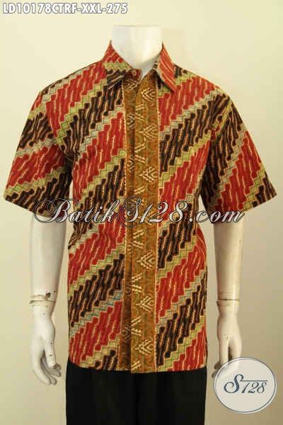 Model Baju Batik Pria Gemuk Motif Klasik, Pakaian Batik Kerja Kantoran Full Furing Proses Cap Tulis, Penampilan Gagah Dan Elegan [LD10178CTRF-XXL]