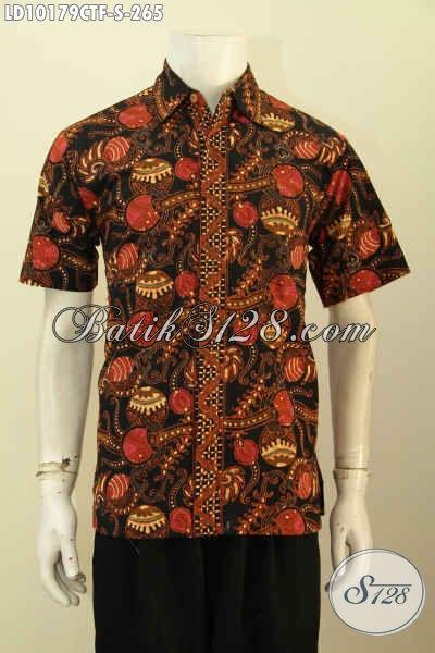 Model Baju Batik Solo Istimewa, Kemeja Batik Modis Halus Lengan Pendek Bahan Adem Full Furing Motif Bagus Cap Tulis Harga 265K, Size S
