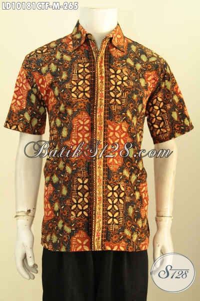 Model Baju Batik Cowok Terbaru Lengan Pendek, Pakaian Batik Solo Jawa Tengah Halus Kwalitas Istimewa Bahan Adem Yang Bikin Penampilan Lebih Gagah Dan Modis, Size M