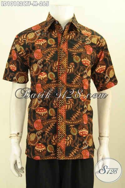 Model Baju Batik Solo Terbaru Lengan Pendek Full Furing, Pakaian Batik Modis Motif Bagus Kwalitas Istimewa, Tampil Gagah Mempesona, Size M