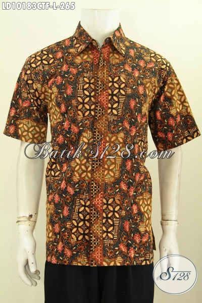 Model Baju Batik Kerja Pria Muda Dan Dewasa, Busana Batik Halus Lengan Pendek Masa Kini Bahan Adem Full Furing Harga 265K, Size L