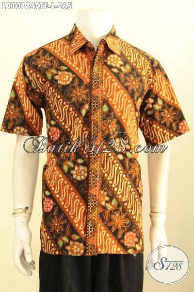 Model Baju Batik Kerja Pria Muda Dan Dewasa Motif Klasik Lengan Pendek Full Furing, Tampil Terlihat Mewah Berkelas, Size L