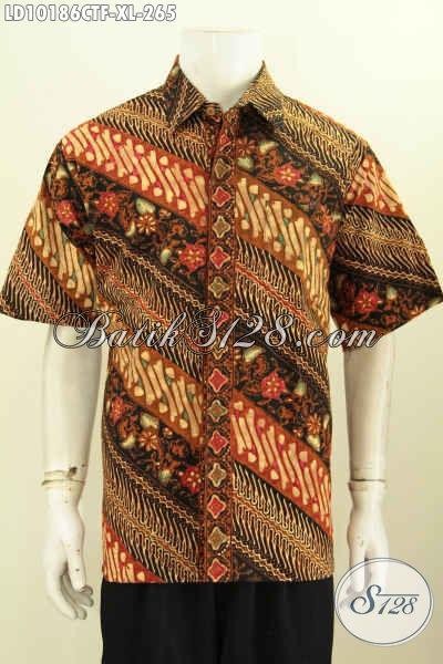 Model Baju Batik Pria Kekinian Dengan Motif Klasik, Busana Batik Berkelas Nan Istimewa Daleman Full Furing Membuat Pria Gagah Berwibawa [LD10186CTF-XL]