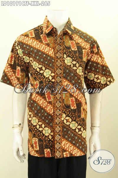 Model Baju Batik Lengan Pendek Pria Gemuk, Busana Batik Jumbo Full Furing Motif Klasik Trend Masa Kini, Pas Buat Ngantor [LD10191CTF-XXL]