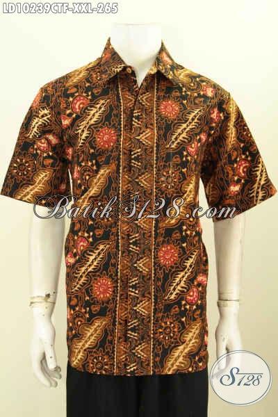 Batik Kemeja Lengan Pendek Solo Full Furing, Pakaian Batik Pria Gemuk Motif Bagus Bahan Adem Proses Cap Tulis, Di Jual Online 265K [LD10239CTF-XXL]