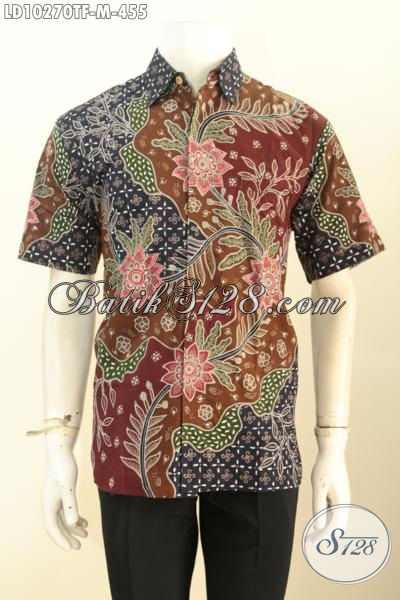 Model Baju Batik Pria Lengan Pendek Motif Kekinian, Hem Batik Full Furing Proses Tulis Bahan Adem, Cocok Buat Ngantor [LD10270TF-M]