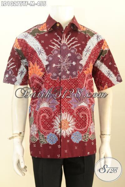 Model Baju Batik Pria Keren Bahan Halus Motif Trendy Proses Tulis Kwlaitas Istimewa, Lengan Pendek Full Furing, Penampilan Terlihat Mewah [LD10275TF-M]