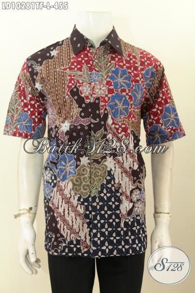Model Baju Batik Solo Modis Halus Lengan Pendek, Pakaian Batik Tulis Full Furing Motif Bagus, Bisa Untuk Santai Dan Resmi [LD10281TF-L]