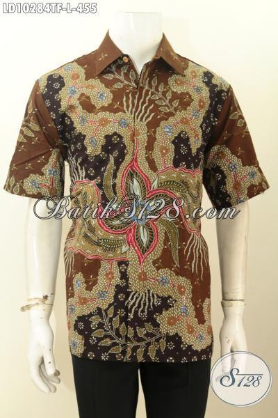 Toko Baju Batik Dekat Sini, Sedia Pakaian Batik Cowok Terbaru Lengan Pendek Full Furing Motif Bagus Tulis Asli Hanya 455K, Cocok Buat Kerja [LD10284TF-L]