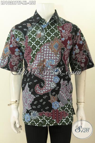 Model Baju Kemeja Batik Pria Size XL, Hem Lengan Pendek Mewah Pakai Furing Bahan Adem Motif Bagus Tulis Asli Hanya 455K [LD10287TF-XL]