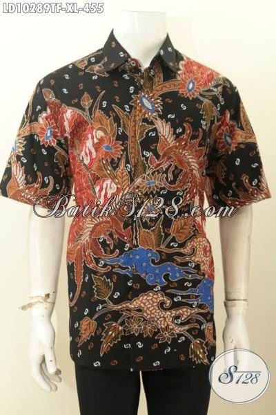 Jual Baju Batik Kemeja Solo Lengan Pendek Size XL, Hem Batik Istimewa Full Furing Bahan Adem Motif Bagus, Cocok Buat Santai Dan Formal
