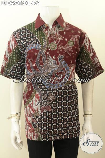 Model Baju Batik Kerja Pria Dewasa, Pakaian Batik Solo Jawa Tengah Terbaru Kwalitas Halus Full Furing Motif Tren Masa Kini, Penampilan Gagah Berwibawa, Size XL