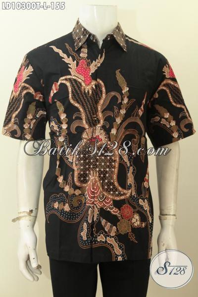 Jual Kemeja Batik Solo Halus, Pakaian Batik Pria Lengan Pendek Size L Motif Kekinian Proses Tulis Harga Murmer, Pria Tampil Menawan