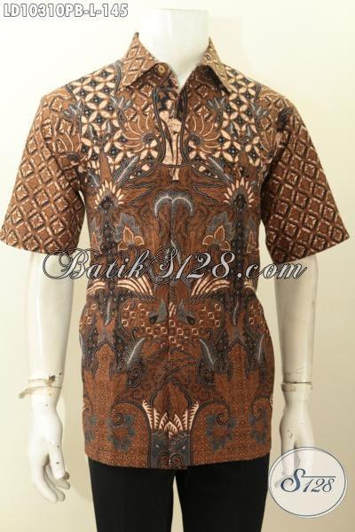 Batik Kemeja Kerja Pria Lengan Pendek Motif Klasik, Hem Batik Printing Istimewa Khas Jawa Tengah Untuk Penampilan Makin Gagah, Size L