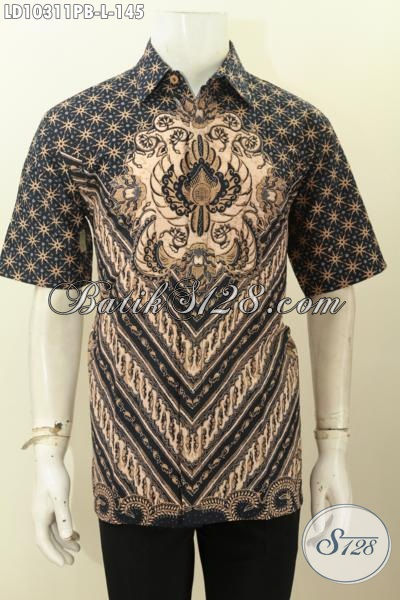 Produk Pakaian Batik Pria Masa Kini, Baju Batik Kerja Nan Elegan Lengan Pendek Bahan Adem Proses Printing Motif Bagus Harga Murmer, Size L
