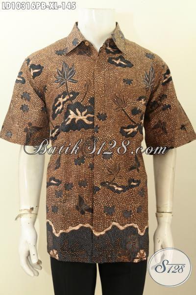Hem Batik Pria Lengan Pendek Motif Klasik, Busana Batik Solo Terkini Bahan Adem Proses Printing Cabut, Penampilan Gagah Berwibawa, Size XL