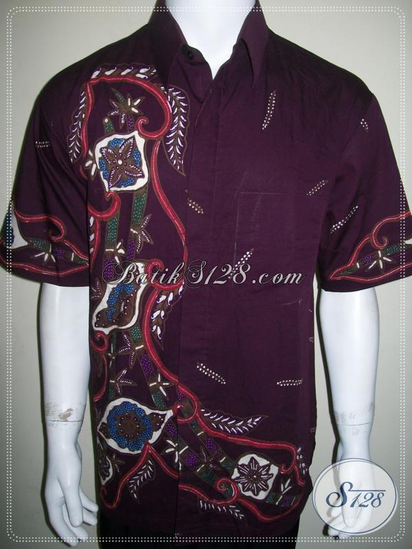 Batik Ungu Pria Lengan Pendek Ukuran XL, Keren Mas Bro [LD1031T-XL]