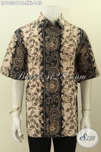 Model Baju Batik Pria Gemuk Lengan Pendek, Hadir Dengan Bahan Halus Motif Terkini Asli Buatan Solo Harga 145 Ribu [LD10321PB-XXL]
