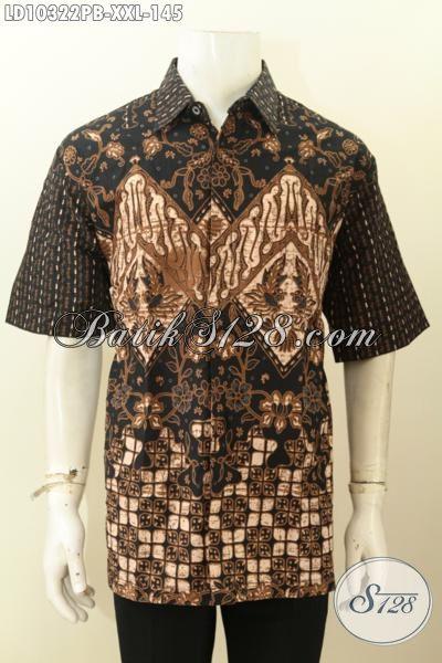 Model Baju Batik Elegan Ukuran Jumbo, Baju Batik Lengan Pendek Bahan Adem Proses Printing Untuk Penampilan Gagah Berkelas, Size XXL