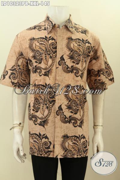Model Baju Batik Hem 3L, Kemeja Batik Pria Gemuk Lengan Pendek Bahan Adem Motif Terkini Proses Printng Cabut 100 Ribuan Saja [LD10323PB-XXL]