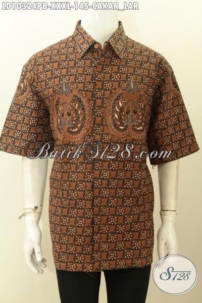 Model Baju Batik Pria Gemuk Sekali, Pakaian Batik Big Size 4L Bahan Adem Motif Cakar Lar Proses Print Cabut Asli Dari Solo [LD10324PB-XXL]