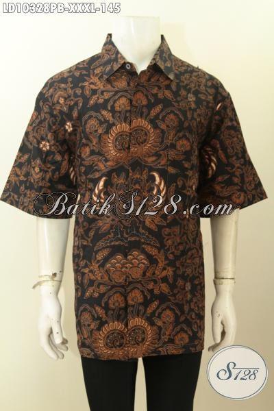 Model Baju Batik Solo Istimewa Buat Pria Gemuk Sekali, Hem Batik 4L Motif Klasik, Cocok Untuk Ngantor Dan Kondangan [LD10328PB-XXXL]