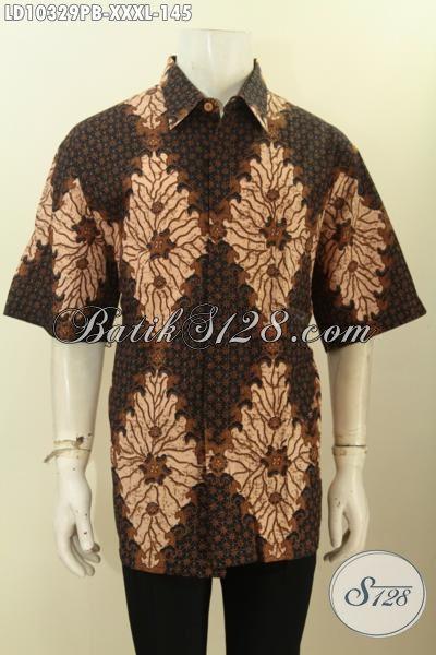 Model Baju Batik Jumbo Pria Gemuk, Hem Batik Printing Cabut Lengan Pendek Bahan Halus Motif Klasik Nan Elegan, Tampil Makin Gagah [LD10329PB-XXXL]