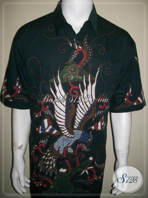 Batik Tulis Pria Motif burung Warna Hijau Ukuran Besar XXL Keren Elegan [LD1034T-XXL]