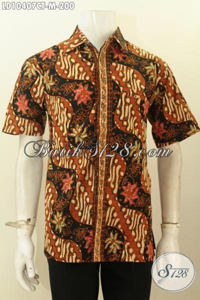 Model Baju Batik Pria Motif Klasik Lengan Pendek, Hem Batik Solo Halus Bahan Adem Proses Cap Tulis, Cocok Buat Kondagan, Size M