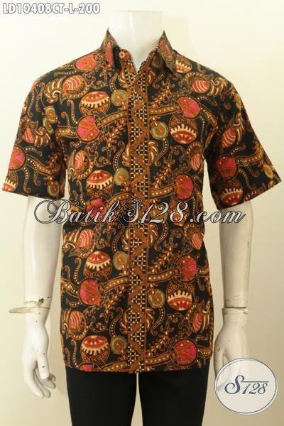Model Baju Batik Pria Lengan Pendek Kwalitas Premium Motif Klasik Cap Tulis, Di Jual Online 200K, Size L