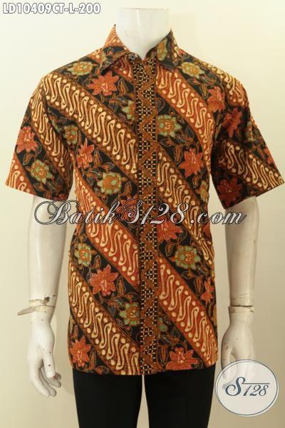 Pakaian Batik Halus Modis Untuk Tampil Beda, Kemeja Batik Elegan Lengan Pendek Ukuran L Harga 200K