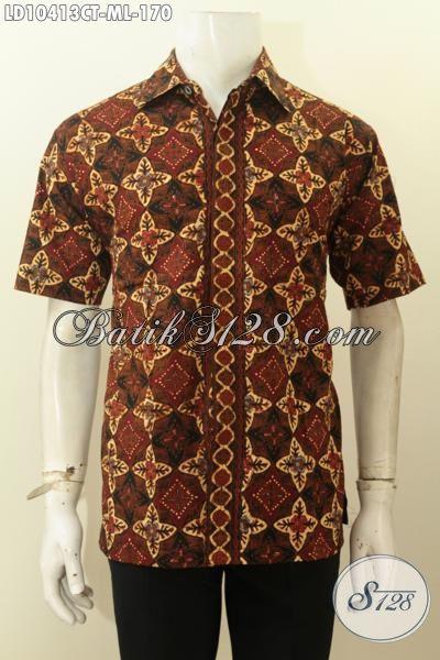 Hem Batik Lengan Pendek Motif Unik Proses Cap Tulis, Pakaian Batik Solo Jawa Tengah Yang Bikin Pria Terlihat Tampan Sempurna, Size M – L