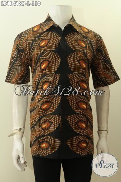 Model Baju Batik Pria Keren Motif Bulu Merak, Hem Batik Solo Lengan Pendek Bahan Adem Proses Printing, Di Jual Online 110 Ribu Saja, Size L