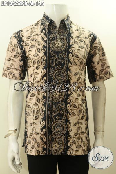 Produk Busana Batik Solo Halus Lengan Pendek Motif Bagus Printing Cabut, Kemeja Batik Bahan Adem Nyaman Di Pakai Kerja Dan Hangout, Size M