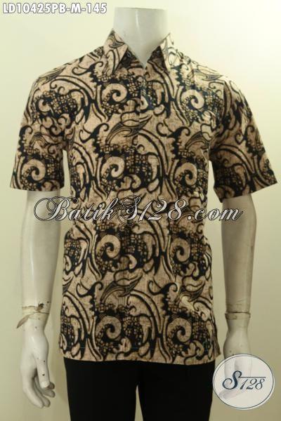 Hem Batik Model Keren Untuk Lelaki Muda, Pakaian Batik Solo Lengan Pendek Tren Masa Kini, Bikin Penampilan Tampan Dan Gaya, Size M