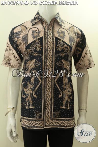 Model Baju Batik Hem Pria Lengan Pendek Motif Wayang Srikandi, Busana Batik Modis Dan Gaul Dengan Warna Elegan, Bikin Penampilan Tampan Maksimal [LD10429PB-M]