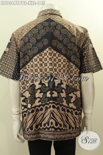 Model Baju Batik Klasik Lengan Pendek, Pakaian Batik Solo Jawa Tengah Nan Istimewa Bahan Halus Proses Printing Cabut, Cocok Untuk Ngantor Dan Acara Resmi [LD10441PB-XL]