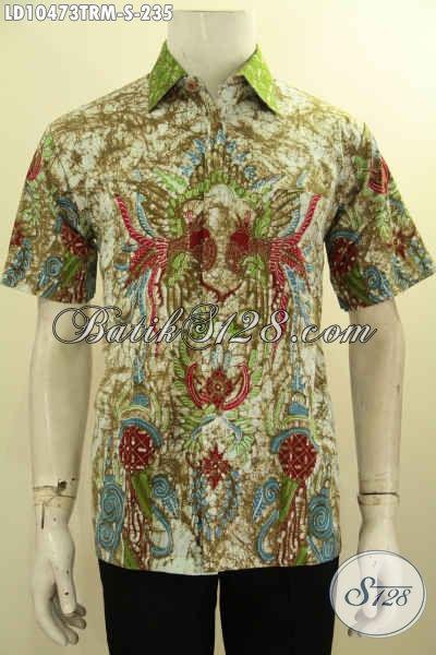 Model Baju Batik Pria Motif Untik Proses Tulis Remekan, Batik Hem Lengan Pendek Keren Cocok Untuk Gaul [LD10473TRM-S]