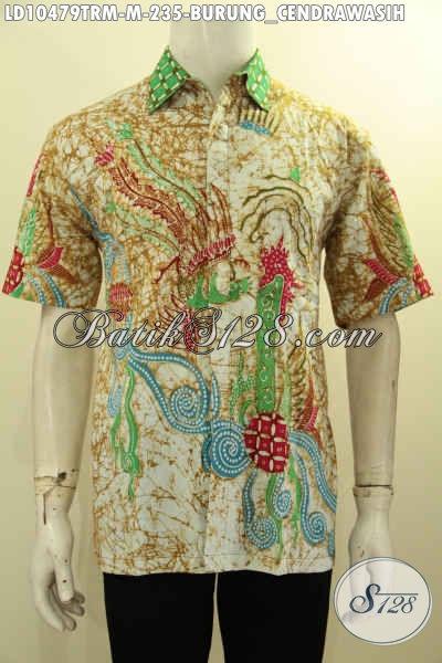 Baju Kemeja Batik Pria Motif Burung Cendrawasih, Hem Batik Solo Keren Masa Kini Proses Tulis Remekan Harga 200 Ribuan, Size M