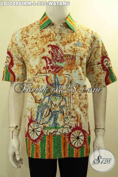 Baju Kemeja Batik Pria Motif Kekinian, Hem Batik Solo Nan Istimewa Lengan Pendek Motif Wayang, Cocok Buat Ngantor Dan Jalan-Jalan, Size L