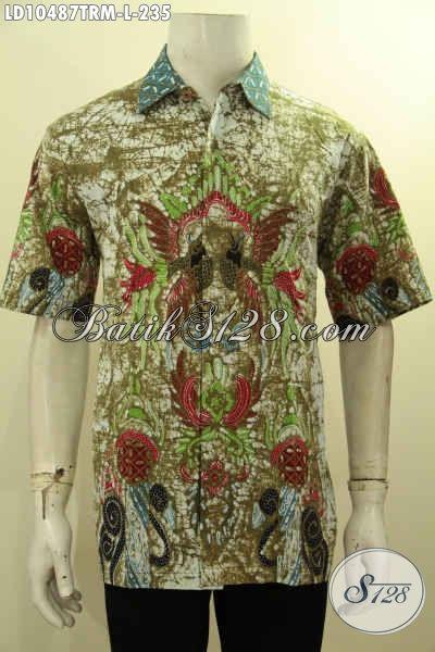 Jual Baju Kemeja Batik Solo Terbaru, Hem Batik Solo Elegan Lengan Pendek Motif Keren Tulis Remekan Kwalitas Premium Harga 235K, Size L