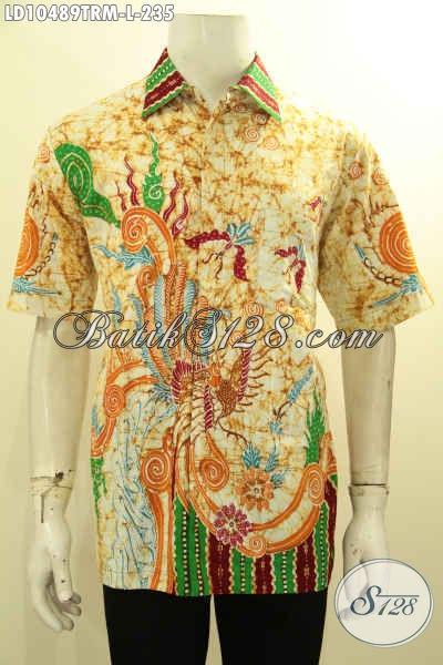 Baju Hem Batik Lengan Pendek Tulis Remekan, Kemeja Batik Kerja Pria Mud Dan Dewasa Untuk Tampil Beda Dan Bergaya [LD10489TRM-L]