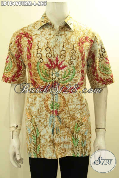 Hem Batik Pria Proses Tulis Remekan, Kemeja Batik Kerja Kantoran Size L Lengan Pendek Bahan Adem Kwalitas Premium