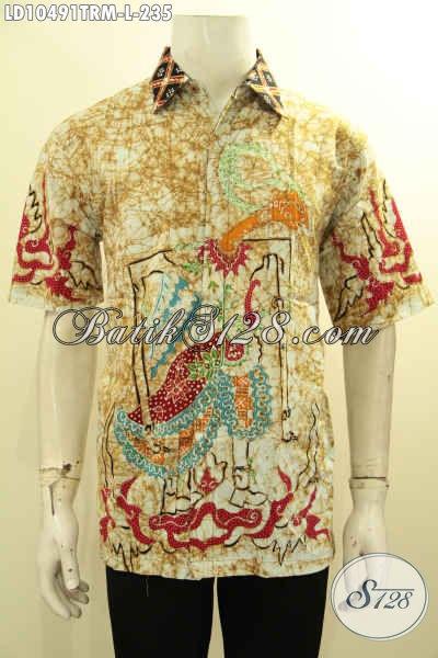 Model Baju Batik Keren Tulis Remekan Motif Wayang, Kemeja Batik Lengan Pendek Nan Istimewa Yang Bikin Pria Terlihat Keren Dan Gagah [LD10491TRM-L]