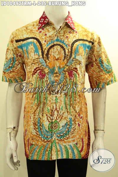 Model Baju Kemeja Batik Solo Lengan Pendek Motif Burung Hong, Pakaian Batik Tren Kekinian Cocok Buat Ngantor Dan Jalan-Jalan [LD10492TRM-L]