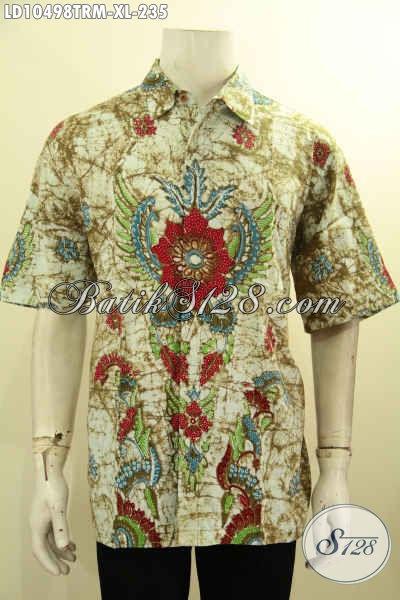 Produk Baju Batik Untuk Pria Dewasa, Pakaian Batik Solo Jawa Tengah Halus Lengan Pendek Bahan Adem Motif Bagus Proses Tulis Remekan, Bikin Penampilan Cakep Dan Keren [LD10498TRM-XL]