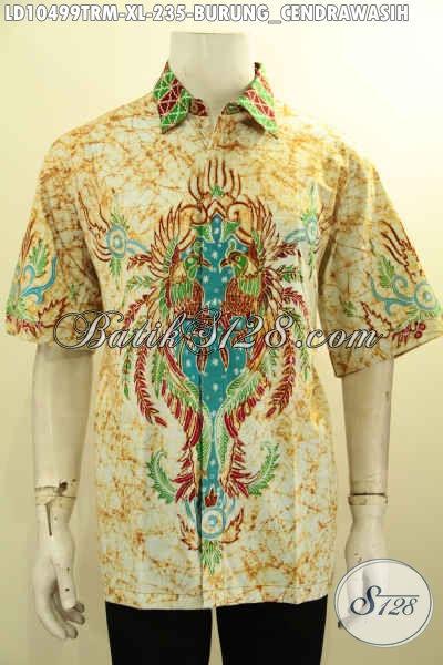 Model Baju Batik Pria Bahan Halus Lengan Pendek Motif Burung Cendrawasih, Pakaian Batik Istimewa Proses Tulis Remekan Harga 235K, Size XL