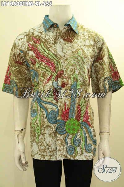 Baju Kemeja Batik Modis Lengan Pendek Motif Bagus Kekinian, Hem Batik Pria Untuk Tampil Beda Dan Gaya Proses Tulis Remekan Hanya 235K, Size XL